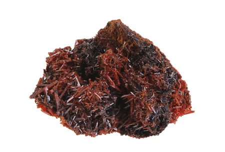 Focus stacked image of a crystallized specimen of Crocoite from Tasmania, a mineral consisting of lead chromate (PbCrO4) which crystallizes in the monoclinic crystal system, isolated on white Imagens