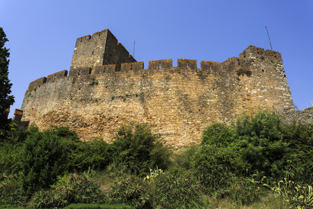 View of the keep tower of the medieval castle built in the 12th century by the Templar Knights to secure the border against the Moors, in Tomar, Portugal