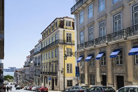 View of the Alecrim Street in the old quarters of Lisbon, Portugal, connecting the high part of the old city with the area along the Tagus River.