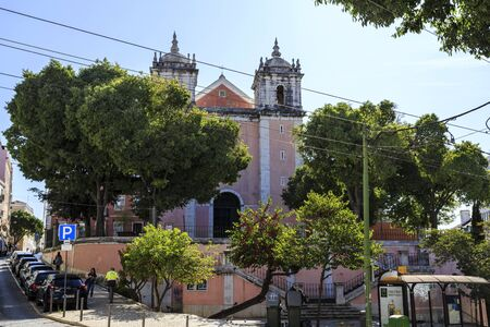 The parish Church of Santos-o-Velho, first built in the 4th century and devoted to the Holy Martyrs of Lisbon was rebuilt in the 17th century in Lisbon, Portugal Banco de Imagens