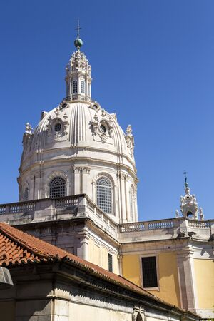 Dome of the late Baroque and Neo-Classical Royal Basilica and Convent of the Most Sacred Heart of Jesus, built in late 18th century in Lisbon, Portugal