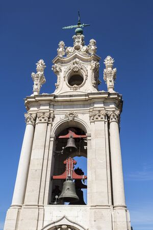 Detail of the bells of the late Baroque and Neo-Classical Royal Basilica and Convent of the Most Sacred Heart of Jesus, built in late 18th century in Lisbon, Portugal