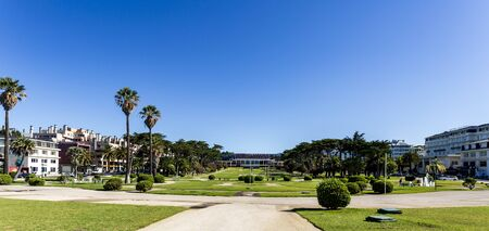 Panoramic view of the Estoril Casino courtyard seen from the Beach of Tamariz in Estoril, Portugal