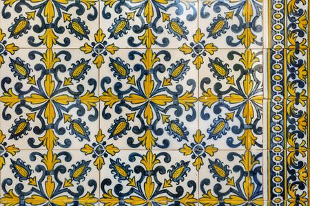 Detail of the wonderful 17th century tiles on the walls of the portico of the former Priests House of the Monastery of Saint Mary of Lorvao, Coimbra, Portugal
