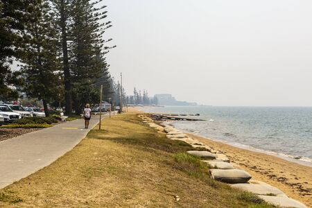 Intense smoke haze blankets the Redcliffe Peninsula during the bush fires of Northern New South Wales and Southeast Queensland