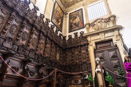 View of the spectacular Brazilian black rosewwod and walnut wood grand chair, in the choir of the Monastery of Saint Mary of Lorvao, Coimbra, Portugal