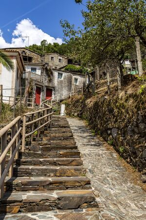 Steep access to the top of the village of Candal, nestled in the Lousa Mountain Range, Coimbra, Portugal Stock Photo