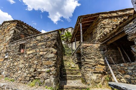 Traditional schist architecture in the village of Candal, nestled in the Lousa Mountain Range, Coimbra, Portugal Stock Photo
