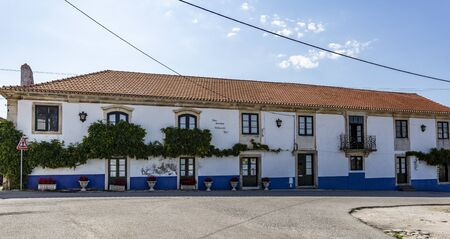 Facade of the old Manor of the Coelhos, Faria, Amorim and Silva, built in the 17th century in residential civil architecture, in the town of Tentugal, Coimbra, Portugal,