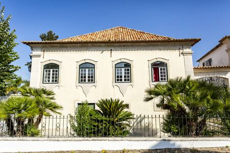 Facade of the old Manor House of Mourao, built in the 18th century in residential civil architecture, in the town of Tentugal, Coimbra, Portugal,