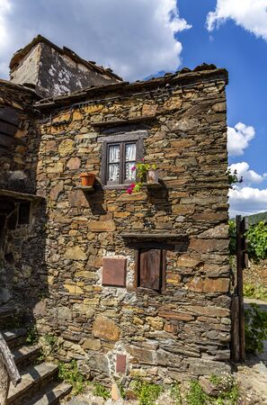 Traditional schist architecture in the village of Talasnal, nestled in the Lousa Mountain Range, Coimbra, Portugal