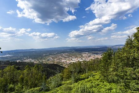 Panoramic view of the Portuguese town of Lousa, seen from the Lousa Mountain Range near Coimbra, in central Portugal Stock Photo