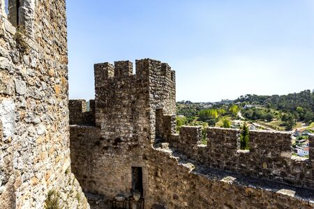 View of the ruins inside the 12th century medieval castle of Pombal, Coimbra, Portugal