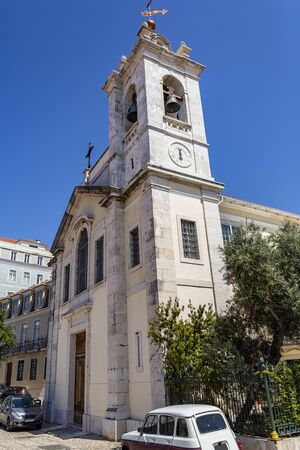 Facade of the Church of the Wounds of Christ, built in late 18th century, in Lisbon, Portugal