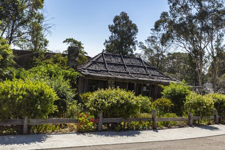 View of the Slab Hut, built in 1872 as a family home with the particularity of no nails were used in the structure, in Orbost, East Gippsland, Australia