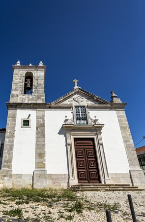 Facade of the Church of Santiago, rebuilt in the 18th century after the great earthquake of 1755, in the town of Almada, Portugal Banco de Imagens