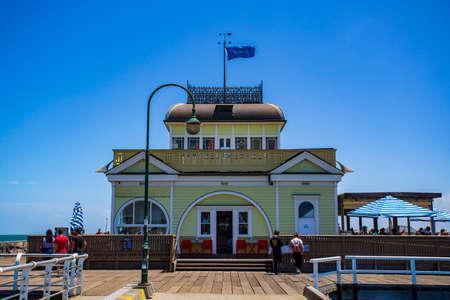 View of the 700m long L shaped pier in Port Phillip Bay, St Kilda, Melbourne, Victoria, Australia