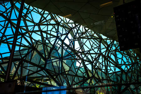 View from inside of the glazed wall of the Atrium in the Federation Square, Melbourne, Victoria, Australia
