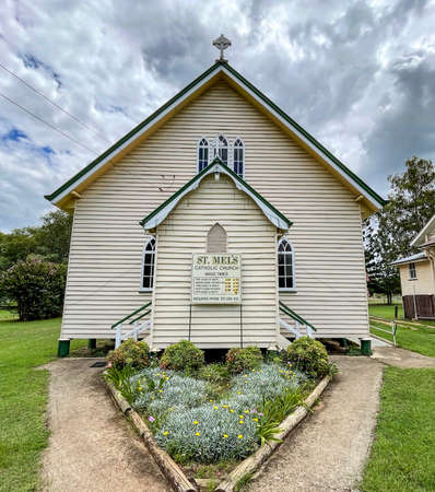 View of the St Mel Catholic Church built in at the turn of the 19/20th century in Gothic Revival in the rural town of Esk, Queensland, Australia