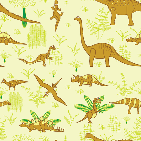 droll: seamless vector pattern, dinosaurs and trees illustration