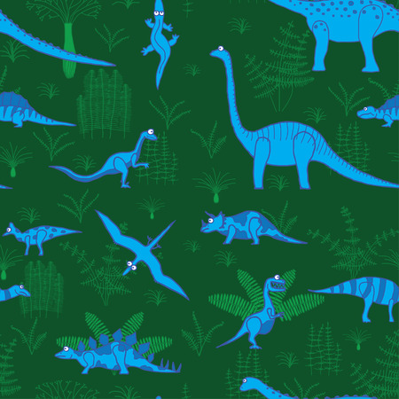 fern  large fern: seamless vector pattern, dinosaurs and trees illustration
