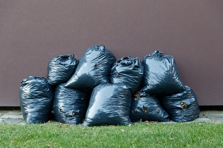composting: Black plastic bags with leaves trash collected in autumn Stock Photo