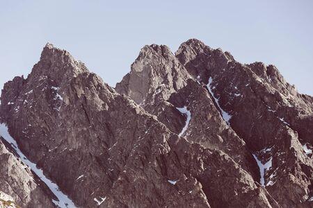 Mountain peaks in High Tatras in Velka Studena dolyna Stock Photo