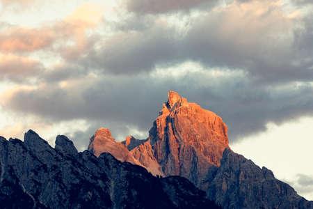 Sunset over Dolomites peaks Stock fotó