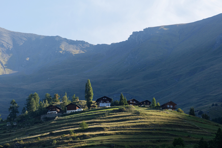 Idyllic cottages in the Swiss village on the hill lit by the morning sunlight