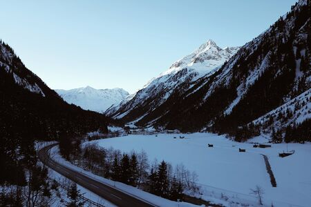 Landscape of the winter Pitztal valley in Austrian Alps