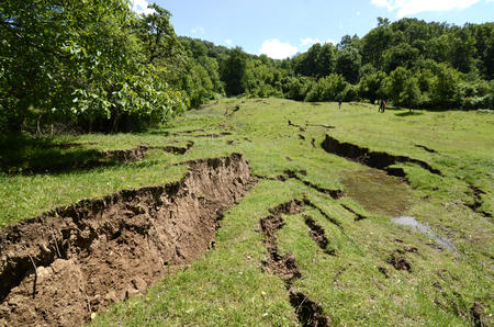 Land slides after heavy rain in mountain area 版權商用圖片