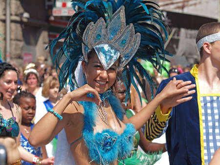 COPENHAGEN - MAY 22: 28th annual Copenhagen Carnival parade of fantastic costumes, samba dancing and Latin styles starts on May 21 - 23. The festivities on this colourful tradition is admission free.