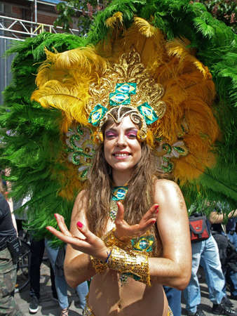 brazilian woman: Copenhagen, Denmark - May 22, 2010: Participant in fantastic costumes at the annual Copenhagen Carnival parade.