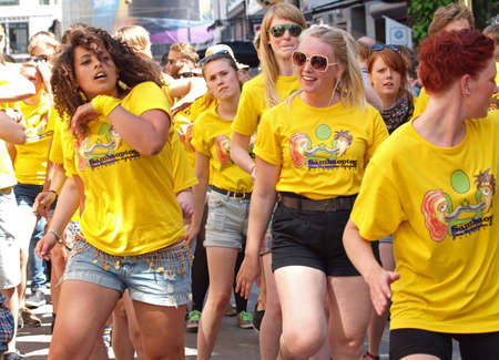 whitsun: Copenhagen, Denmark - June 11, 2011 - Participants in the 29th annual Copenhagen Carnival parade 2011