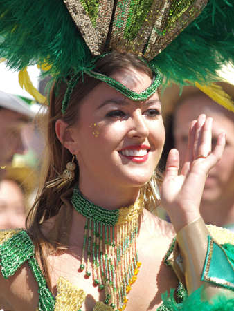 whitsun: Copenhagen, Denmark - June 11, 2011 - Participant in the 29th annual Copenhagen Carnival parade 2011.