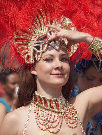 COPENHAGEN - MAY 26: Participant in the 30th annual Copenhagen Carnival parade of fantastic costumes, samba dancing and Latin styles starts on May 25, 2012 in Copenhagen, Denmark. Stock Photo - 13795715