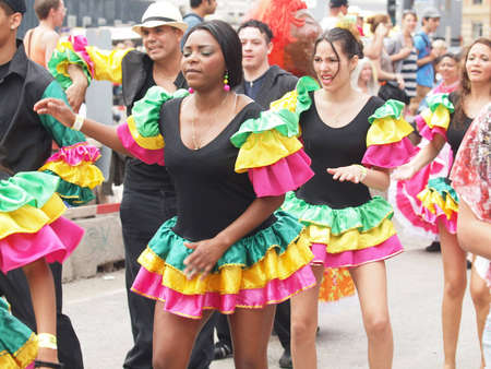 COPENHAGEN - MAY 26: Participants in the 30th annual Copenhagen Carnival parade of fantastic costumes, samba dancing and Latin styles starts on May 25, 2012 in Copenhagen, Denmark.