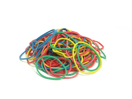 pile of colorful rubber bands on white background Stock Photo - 18081258