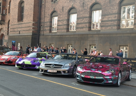 COPENHAGEN - MAY 18  Residents and car enthusiasts had a glimpse of the Gumball 3000 luxury sports cars a day before the race on the streets of Copenhagen, Denmark on May 18, 2013
