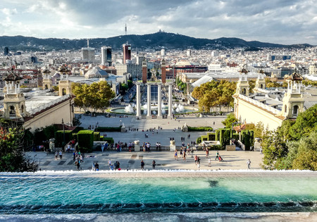 View over Barcelona from the entrance of National Art Museum of Catalonia (MNAC). Catalonia, Spain. Cityscape view. 報道画像
