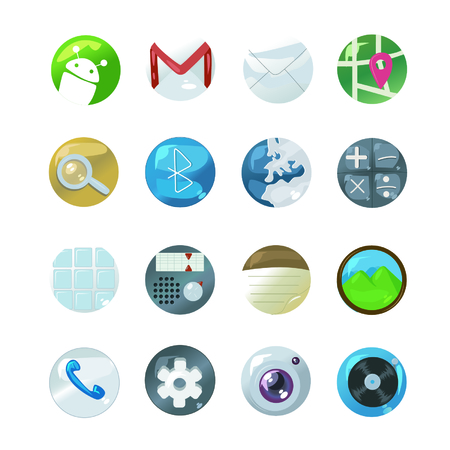 These are cell phone icons, they are all vectorized, They are very elegant and flashy. Ilustração