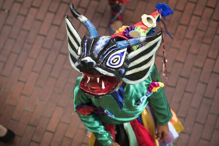 the typical carnival masks diablicos in Panama 스톡 콘텐츠