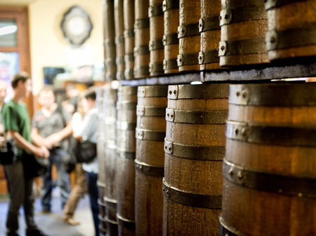 typical: Wine barrels decorating a typical Spanish house Stock Photo