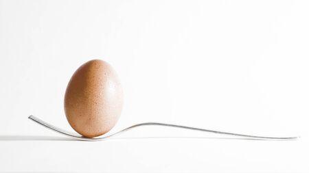 equilibrium: Egg in equilibrium on a fork