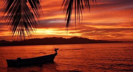 Tramonto a Puerto Viejo Costa Rica Archivio Fotografico