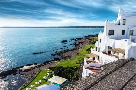 uruguay: A view of the Casapueblo resort located in Punta Ballena, Uruguay and built by the famous uruguayan artist Carlos Paez