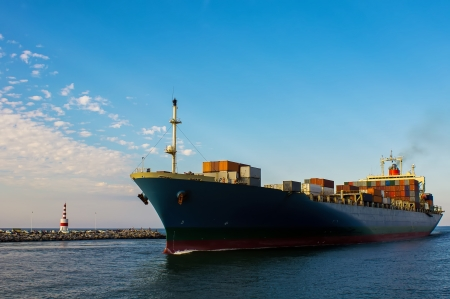 import and export business: Container cargo ship in ocean