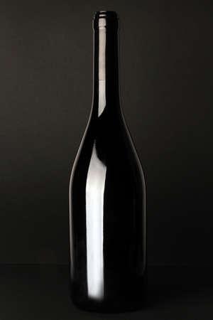 bottle label: Wine bottle on a black background