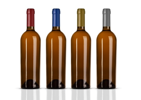 Group of white wine bottles with no label