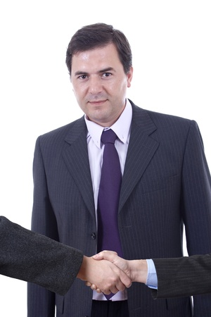Bussiness man shaking hands on white background